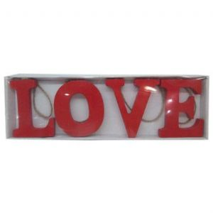 RED WOODEN LOVE SIGN VAL052
